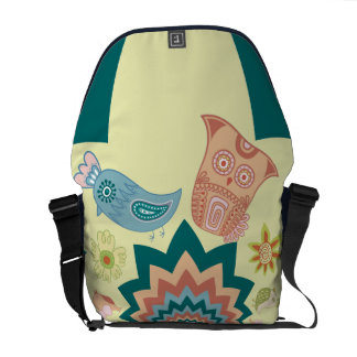 Fun Crazy Owl Birds Chevron Pattern Messenger Bag