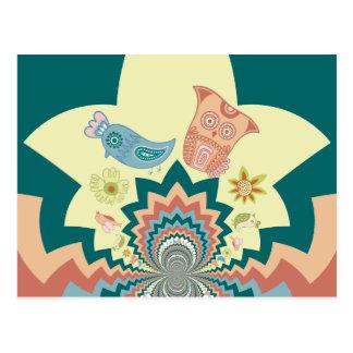 Fun Crazy Owl Birds Chevron Pattern Postcard