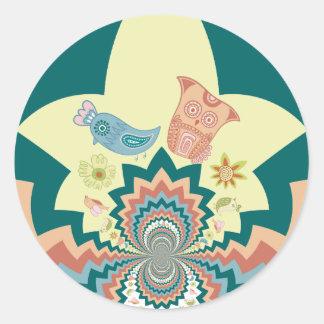 Fun Crazy Owl Birds Chevron Pattern Round Stickers