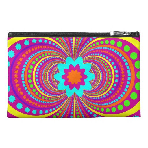 Fun Crazy Pattern Hot Pink Orange Teal Travel Accessory Bags