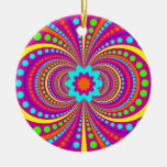 Fun Crazy Pattern Hot Pink Orange Teal Christmas Ornaments