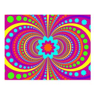 Fun Crazy Pattern Hot Pink Orange Teal Postcards