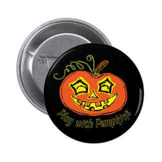 Fun & Creepy Orange Play Pumpkin Button