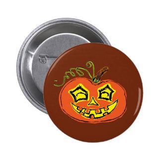 Fun & Creepy Orange Pumpkin Button