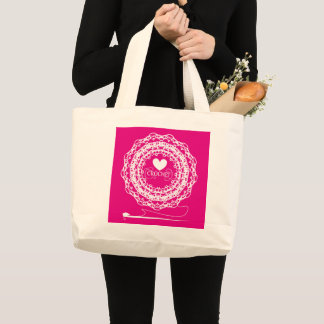 Fun Crochet Themed Pretty Doily Circle Design Large Tote Bag