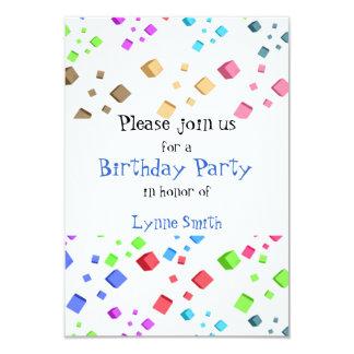 "Fun Cubes Birthday Invitation 3.5"" X 5"" Invitation Card"