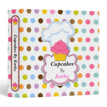 Fun Cupcake and Baker's Hat 1.5 Inch Binder