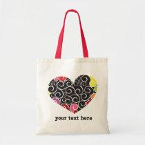 Fun curly heart tote bag
