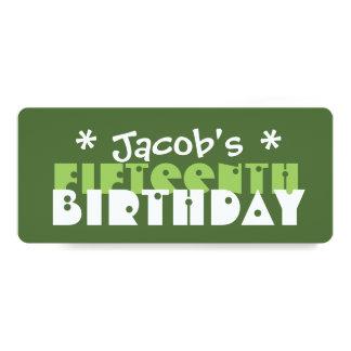 "Fun Custom 15th Birthday Party Green T06V 4"" X 9.25"" Invitation Card"