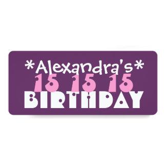 "Fun Custom 15th Birthday Party PURPLE T01C 4"" X 9.25"" Invitation Card"