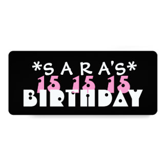 "Fun Custom 15th Birthday Party T06Z 4"" X 9.25"" Invitation Card"