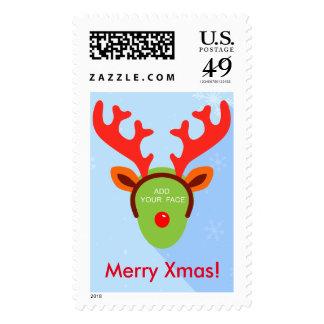 Fun custom Rudolph the Reindeer Christmas greeting Stamps