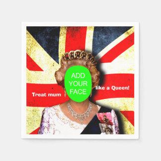 """Fun custom """"Treat mum like a Queen"""" punk portrait… Paper Napkin"""