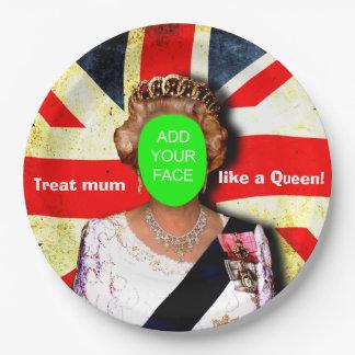"""Fun custom """"Treat mum like a Queen"""" punk portrait… Paper Plate"""