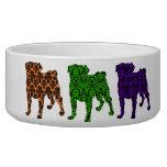 Fun Customizable Halloween Damask Pugs Pet Bowl