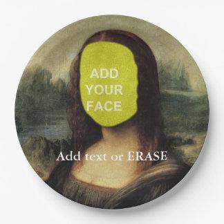 "Fun customizable Leonardo Da Vinci ""Mona Lisa""… Paper Plate"
