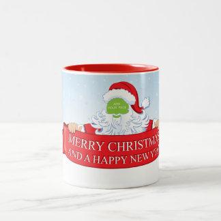 Fun customizable Santa Claus Christmas greeting… Two-Tone Coffee Mug
