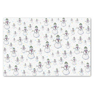 """Fun, Cute, and COlorful Snowmen and Snowflakes 10"""" X 15"""" Tissue Paper"""