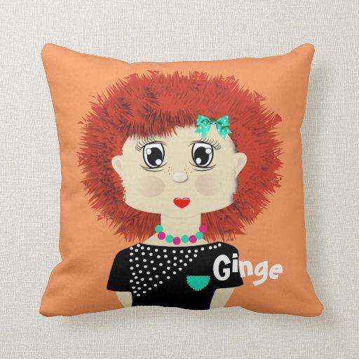 Fun Cute Big Red Haired Cartoon Girl Pillows Zazzle