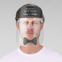 Fun Cute Black Bow Tie Best Man Wedding Face Shield