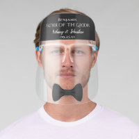 Fun Cute Black Bow Tie Father of the Groom Wedding Face Shield