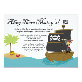 Fun cute boy's pirate birthday party invitation 5