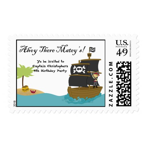 Fun cute boy's pirate birthday party postage stamp