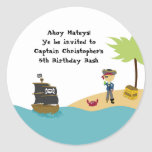Fun cute boy's pirate birthday party stickers