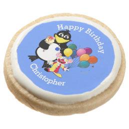 Fun cute cartoons kids happy birthday round shortbread cookie
