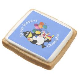 Fun cute cartoons kids happy birthday square shortbread cookie