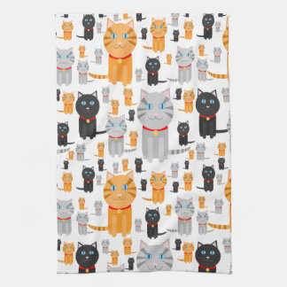 Fun Cute Collage of Orange, Gray, and Black Cats Towel