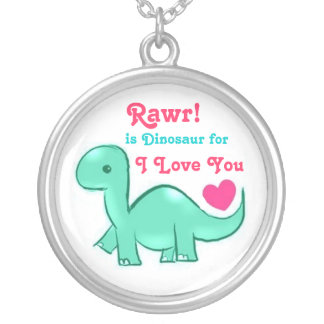 Fun Cute Dinosaur Love Rawr Round Necklace