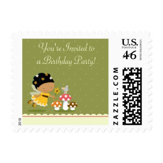 Fun cute fairy girl's birthday party postage stamp stamp