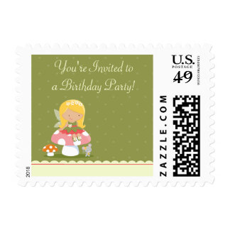 Fun cute fairy girl's birthday party postage stamp