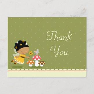 Fun cute fairy girl's birthday thank you postcard postcard
