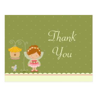 Fun cute fairy girl's birthday thank you postcard