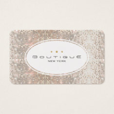 Fun & Cute Fashion Boutique Faux Silver Sequins Business Card at Zazzle