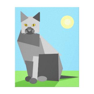 Fun Cute Geometric Cubist Cat in Sunlight Canvas Print