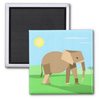 Fun Cute Geometric Cubist Elephant in Sunlight 2 Inch Square Magnet