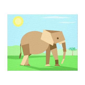 Fun Cute Geometric Cubist Elephant in Sunlight Canvas Print