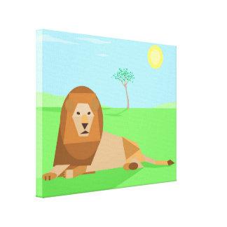Fun Cute Geometric Cubist Lion in Sunlight Canvas Print