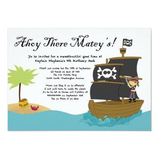 """Fun cute girl's pirate birthday party invitation 5"""" x 7"""" invitation card"""