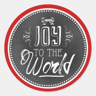 Fun Cute Joy To The World Blackboard Classic Round Sticker