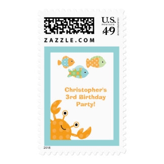 Fun cute under the sea birthday party stamps