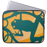 Fun Cutout Frog, Green on Yellow Background Laptop Computer Sleeves