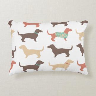 Fun Dachshund Dog Pattern Accent Pillow