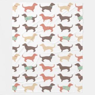 Fun Dachshund Dog Pattern Fleece Blanket