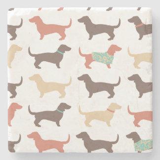 Fun Dachshund Dog Pattern Stone Beverage Coaster