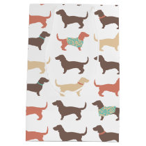 Fun Dachshund Dog Pattern Medium Gift Bag