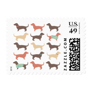 Fun Dachshund Dog Pattern Postage